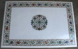 30 X 48 Inches White Marble Dining Table Top Luxury Island Table With Inlay Art