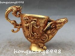 China 100 Gold Gilt Dragon Loong Pixiu Brave Troops Sheep Beast Cup Cups Statue