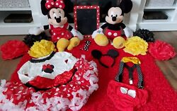 Mickey And Minnie Mouse Photo 1st Birthday Props Plush Cake Smash
