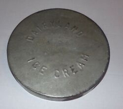 Vintage Dairy Land Ice Cream Container Metal Lid Harrisburg, Pa