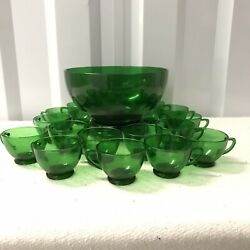Vintage Anchor Hocking Forest Green Glass Complete Punch Bowl Set Base And 15 Cups
