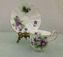 Adderley Hand Painted Violets N0 M1109 Bone China England Tea Cup And Saucer