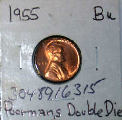 1955 Poor Mans Double Die Lincoln Cent - Bu