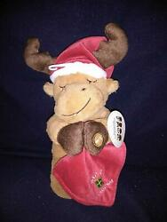 Babyand039s First Christmas Plush Moose Prayer Doll Wearing Christmas Hat 13.5 In