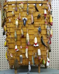 60 Fishing Lures And Tall Basket Andndash Vintage Beautiful - Pick Up Only