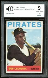 1964 Topps 440 Roberto Clemente Card Bgs Bccg 9 Near Mint+