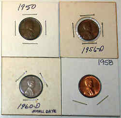 19501956d1958 Bu And 1960d Lincoln Wheat Cents - Good To Bu 4 Coins