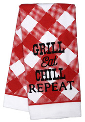 Home Collection Kitchen Towel Polyester Grill Eat Chill Repeat BBQ
