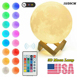 3d Moon Night Light Table Lamp Remote Touch Control Usb Charging Home Decor Gift