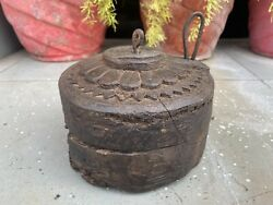 1700 's Antique Old Wooden Hand Carved South Indian Chakki Flour Mill Toy Model