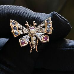 Art Nouveau 15ct/15k625 Gold Sapphire Ruby And Rose Cut Diamond Butterfly Brooch
