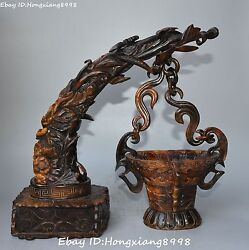 12 Rare China Ancient Oxhorn Ox Horn Dragon Beast Flower Hang Cup Cups Statue
