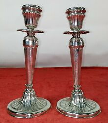 Pair Of Candelabra. Punched Silver. Louis Xvi Style. Spain. Circa 1950