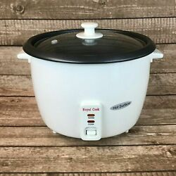 Royal Cook Rc-77251 Persian Rice Cooker With Glass Lid, 25-cup, White