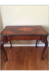 """Fine Vintage Queen Anne Style Leather Top Table W/ Claw Foot Ball Legs W 40"""""""