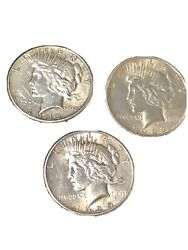 Lot Of 3 Us 1923-1922-1925 Peace Sliver Dollar Coin