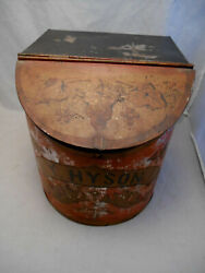 Antique Country Store Large Display Counter Bin Vtg Young Hyson Tea Tin With Lid