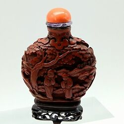 Antique Chinese Carved Cinnabar Snuff Bottle With Natural Coral And Amethyst Lid