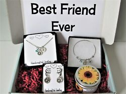 Best Friend Sunflower Gift Box Sunflower Necklace Bracelet Earrings And Candle