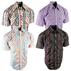 Mens Plaid Stripe Western Shirt Short Sleeve Chest Pockets Snap Up Rodeo Style