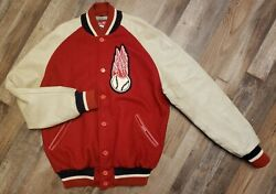 Size L Milb Rochester Red Wings Baseball 1950 Repro Jacket Vintage Wool Leather