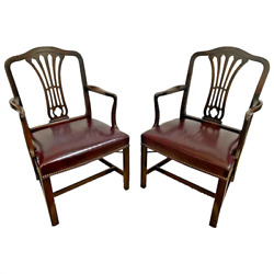 Pair Vintage Arm Chairs Mahogany Fountain Back Leather Seat Hickory Chair Co