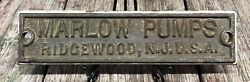 Vintage Brass Embossed Marlow Pumps Industrial Advertising Plaque Sign Steampunk
