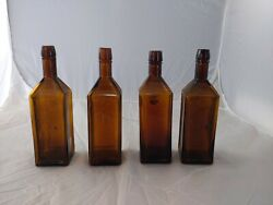 Lot Of 4 1872 Doyles Hop Bitters Crude Colored Bottle Amber Olive Yellow