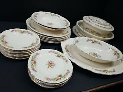 Coronet By Homer Laughlin China Porcelain Roses Florals 24pcs Dinner Service Usa