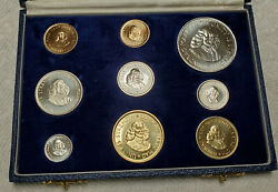 South Africa 1964 1 And 2 Rand Gold Silver Brass 9 Coin Proof Set With Box