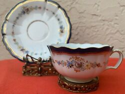Antique Meissen Tea Cup And Saucer With Flowers And Cobalt Blue Trim