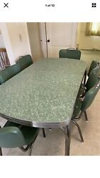 Vintage 1950s Green Formica Chrome Table Dinette Set Vinyl Chairs