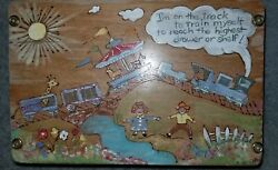 1949 Vintage Hand Painted Wooden Child Step Stool I'm On Track To Train Meself