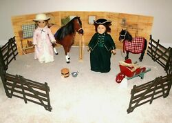 American Girl Felicity 1st Colonial Stable Penny Patriot And 2 Riding Habits Rare