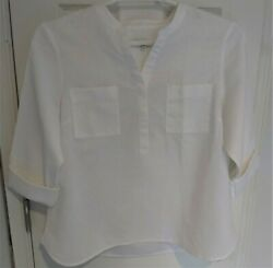 Talbots Women's Tunic Blouse Lp Size V-neck Collar W/buttons 3/4 Length Sleeves