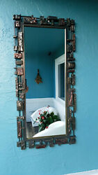 Vintage Mid Century Brutalist Syroco Wall Mirror 70and039s