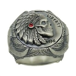 Skull Indian Liberty Hobo Buffalo Biker Sterling Silver 925 Ring Handcrafted