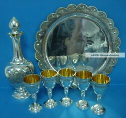 Antique Solid Silver Liquor Brandy Set Bottle Tray With 5 Cupsstamped Russian