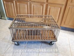 Antique Primitive Farmhouse Wooden Chicken Crate Coffee Table On Casters...