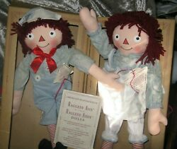 Vintage Applaus Limited Ed Raggedy Ann And Andy 1930 Doll Set Numbered In Box Coa