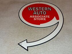 Vintage Western Auto Associate Store 12 Metal Car Parts Gasoline And Oil Sign