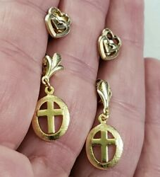 Vintage 14k Yellow Gold Earring Lot Of Two Dangle Cross And Double Hearts