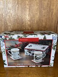 Nib Portmeirion 5- Piece The Holly And The Ivy Tin + Mugs Boxed Set