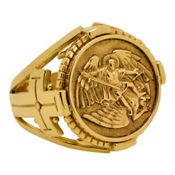 Saint Michael The Archangel Solid Yellow Gold Cross Mens Ring