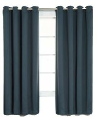 Thermal Insulated Navy Blackout Curtains Antique Bronze Grommet Top 52wx63l