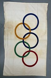 Early Original Official Olympics Flag Rare Large 3x5 1940andrsquos 1950andrsquos Cotton