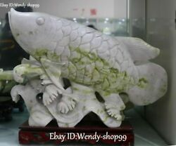 15 Unique Natural Green Jade Carved Fish Goldfishes Wealth Money Water Statue