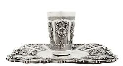Italian 925 Sterling Silver Floral And Garland Applique Cup And Square Tray