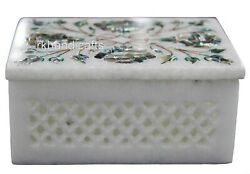 4 X 3 Inches Marble Trinket Box Inlay Abalone Shell Stone Cosmetic Box For Her