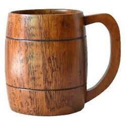 50x500ml Free Drink Large Jujube Wood With Handle Beer Wooden Cup Milk Cup